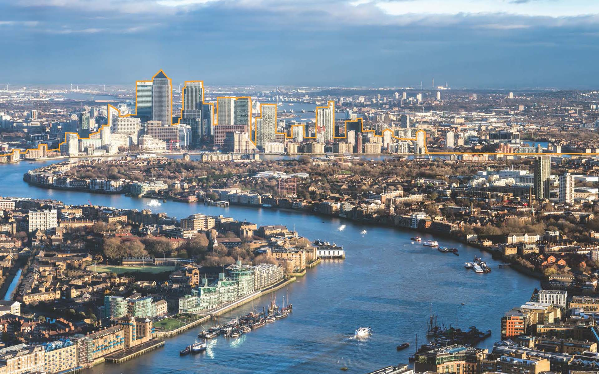 property vision aerial view of canary wharf